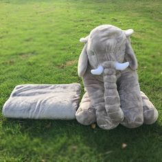 DOMIL Plush Stuffed Elephant Toys with big ears Blankets Inside Cute Colorful Animal Toy