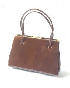 Ladies 'Kelly Style' Elbief Handbag Made In England 1950 Bronze Patient Leather  | eBay