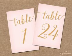 Instant Download Printable Table Numbers by MyCrayonsPapeterie, $12.50 // Blush Pink and Gold Wedding Decor // DIY Wedding