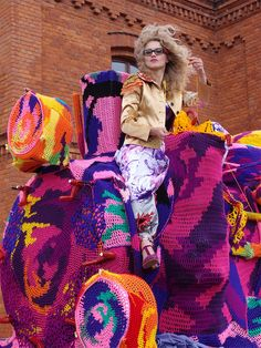 Olek Crochets an Entire Four Car Locomotive in Lodz, Poland yarn bombing trains textiles installation crochet