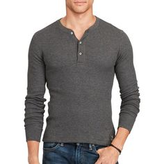 Polo Ralph Lauren Waffle-Knit Pima Henley ($145) ❤ liked on Polyvore featuring men's fashion, men's clothing, men's shirts, men's casual shirts, grey, mens henley long sleeve shirts, mens longsleeve shirts, mens gray dress shirt, mens waffle shirt and mens long sleeve polo shirts