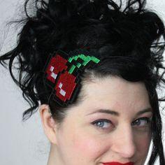 Pixelated Cherries Headband