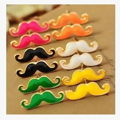 Vintage Moustache Stud Earrings Small Jewelry