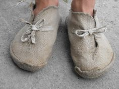 My first natural footwear – rope sole canvas shoes made by me