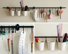 I have used this idea in my kitchen  (using an skinny metal bathroom towel rack and S hooks from the hardware store).  Hadn't thought of using it in the craft rooms.  Makes sense!