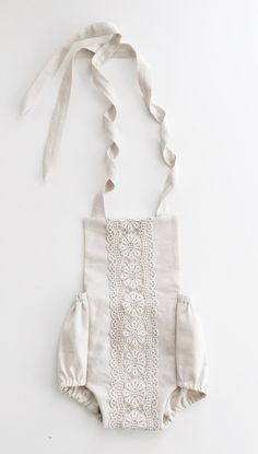 MTO Baby Romper    THE LYDIA made to order    Sand Linen with Floral Lace Trim   Boho Romper by ShopLuluBunny on Etsy https://www.etsy.com/listing/387608258/mto-baby-romper-the-lydia-made-to-order