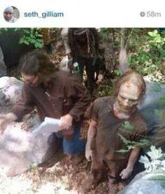 Seth Gilliam made an oops and posted some pics from filming on Instagram; now they are gone.... yay for quick fans. (pic 1 of 2, season 5 walkers).  Walker with glasses, lol.