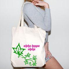 Alpha Kappa Alpha Mascot Tote | Something Greek | #AlphaKappaAlpha #AKA #sorority #clothing #tote #ivyleaves #greeklife #mascot #somethinggreek