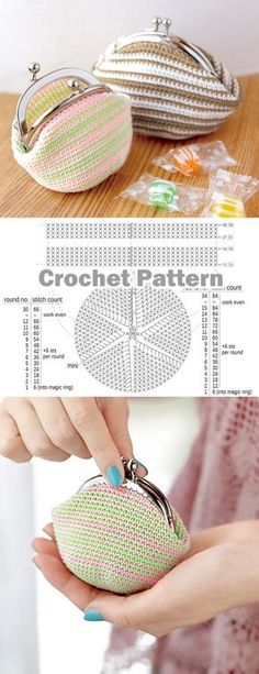 Crochet Coin Purse with Frame Pattern ~ DIY Tutorial Ideas! Crochet Coin Purse with Frame Pattern ~ DIY Tutorial Ideas! Coin Purse Pattern, Coin Purse Tutorial, Wallet Pattern, Tote Pattern, Diy Handbag, Diy Purse, Diy Clutch, Diy Bags Purses, Purses And Handbags