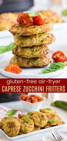 Gluten Free Air-Fryer Zucchini Fritters - made with mozzarella cheese and basil pesto, then topped with balsamic roasted tomatoes for the flavors of your favorite Caprese salad. Enjoy them as a side dish, snack, or meatless meal, these veggies cakes are light and healthy since they aren't fried in oil.