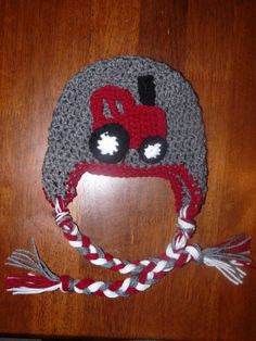 MADE TO ORDER  crochet earflap hat with tractor by fmeshey on Etsy, $12.00