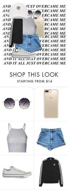 """:)"" by theyknowgrace ❤ liked on Polyvore featuring Spitfire, Speck, Glamorous, Converse and adidas Originals"