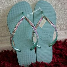 f3cd8ca36d304 I am absolutely loving this colour combination Aqua Havaianas embellished  with Genuine Crystal AB SWAROVSKI® ELEMENTS www.ItsCrystalicious.etsy.com  Link in ...