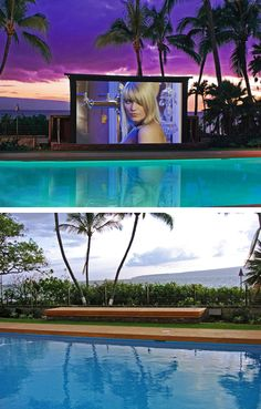 Outdoor pop up movie theater by the pool