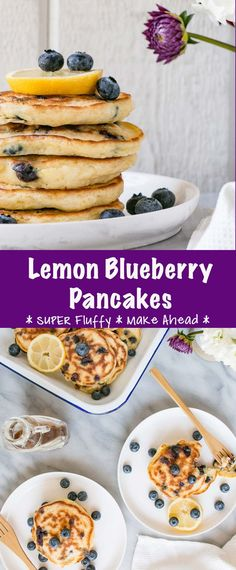 These fully pancakes are packed with delicious lemon blueberry flavours and are an easy pancake recipe! #pancakes #pancakerecipe #easypancakerecipe