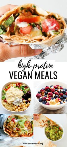 15 Easy High-Protein Vegan Recipes - Beauty Bites - 15 high-protein vegan meals to add to your meal plan this week! These easy and healthy plant based recipes include breakfast, lunch and dinner and you'll love them even if you're not vegan! Plant Based Diet Meals, Vegan Recipes Plant Based, High Protein Vegan Recipes, Tasty Vegetarian Recipes, Plant Based Eating, Vegan Dinner Recipes, Vegan Foods, Vegan Dishes, Whole Food Recipes