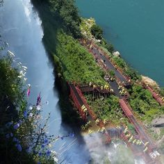 Niagara Falls Cave of the Winds - view from up above at Luna Island in the Niagara Falls State Park