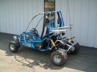 The 6150 Blue Lightning off-road go kart is a fast and fun go kart for kids ages 13 & older. With a powerful 150cc 4-stroke engine and automatic transmission, it can travel up to 39mph. And thanks to hydraulic disc brakes, it can stop on a dime. The full suspension makes it easy to control. And for added safety, it is equipped with an adjustable sliding seat and 3-point shoulder/lap belts.