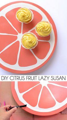 crafts DIY Citrus Fruit Lazy Susan - Dream a Little Bigger Summer Diy, Summer Crafts, Diy And Crafts, Wood Crafts, Ikea I, Edible Arrangements, Cool Diy Projects, Wood Projects, Craft Projects