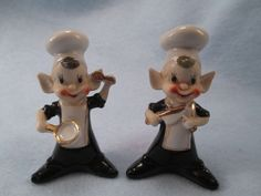 Vintage ceramic Pixie Chef salt & pepper shakers elf made in Japan in Collectibles   eBay