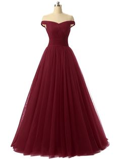 A-line Tulle Prom Formal Evening Dress, Sexy Burgundy