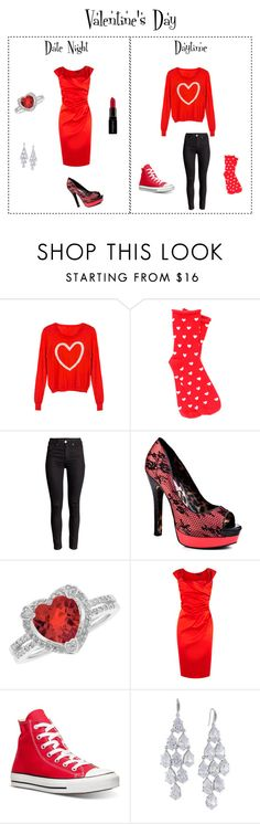 """""""V-Day"""" by puppydoglvr ❤ liked on Polyvore featuring WithChic, Plush, Betsey Johnson, Reeds Jewelers, Coast, Converse, Carolee and Smashbox"""