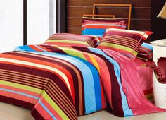 Bright Candy Color Stripes Printed 4 Pieces Bedding Set