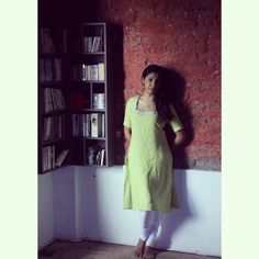 Linen kurtas are best for summers... wearing pista kurta with pearl work around the neck.