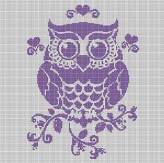 PURPLE+OWL+CROCHET+AFGHAN+PATTERN+GRAPH