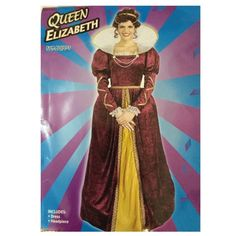 Queen Elizabeth Halloween Costume  *Only worn once* I got this costume for a school project we did on Halloween. After that, I never really used it. It's in excellent condition, the dress is made of a velvety material with an Elizabethan collar, and comes with a headband. Additionally, it has a built-in hoop near the bottom. It comes with its individual bag. Forum Costumes Other