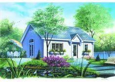 House Plan 034-00002 - This sweet Bungalow House Plan features a charming exterior highlighted with simple construction. There is one bedroom and one bath in the approximate 784 square foot home.