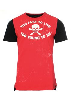 Vivienne Westwood Anglomania Too Fast T-Shirt in bright red. On a red base, Vivienne Westwood decorates this regular fit men's t-shirt using her iconic 'Too Fast To Live To Young To Die' slogan that was originally used as a name for the King's Road, London.