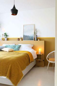 Prettily Blinding Yellow Bedroom Ideas for Fresh Sleeping Spot Modern Bedroom Design, Modern Room, Home Decor Bedroom, Bedroom Colors, Bedroom Ideas, Beautiful Bedrooms, Home Remodeling, Interior Design, Mustard Bedroom