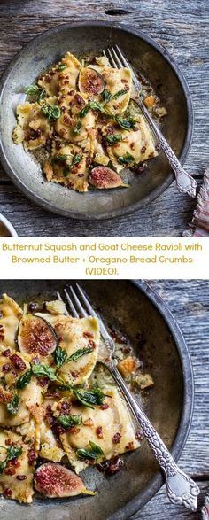 Butternut Squash and Goat Cheese Ravioli with Browned Butter + Oregano Bread Crumbs (VIDEO) | halfbakedharvest.com @hbharvest