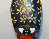 Handpainted Purple BUG ROCK Paperweight Yellow Flowers Abstract Garden Decor Doorstop Pet Rock