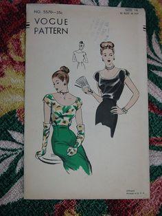 Vintage Pattern 1940's Vogue No5570