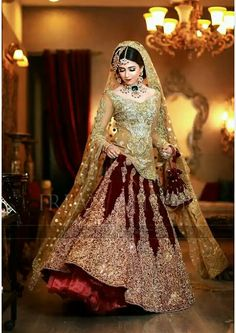 This post features designer Pakistani bridal dresses 2020 for barat day, walima, mehndi ceremony and wedding parties in the latest styles. Asian Wedding Dress, Pakistani Wedding Outfits, Pakistani Bridal Dresses, Indian Dresses, Bridal Lehenga, Bridal Dresses 2018, Bridal Outfits, Bridal Gowns, Eid Outfits