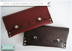 Working as a footwear designer, I have access to lots of lovely leather remnants. Whenever I pass a bin of leather to be disposed of,. Diy Leather Goods, Diy Leather Clutch, Leather Bag Pattern, Diy Clutch, Leather Diy Crafts, Recycled Leather, Leather Gifts, Leather Projects, Leather Pouch