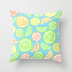 Mixed Citrus - Blue pillow by Lisa Argyropoulos #pillow #citrus #pattern #summer #home #kitchen #dorm #apartment #lemon #lime #orange #grapefruit #cute #decor