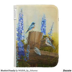 "Bluebird Family Kindle Keyboard Covers. Choose the color of your choice for back & inside. Designed from my original oil painting ""Bluebird Family And Delphiniums"" by Johanna Lerwick Wildlife/Nature Artist."