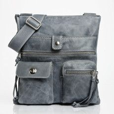 Roots bag, grey distressed leather