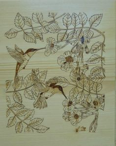 Trumpet vine with hummingbirds - woodburning project.
