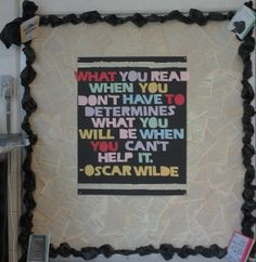 high school English bulletin board -- LOVE the book pages background!!!