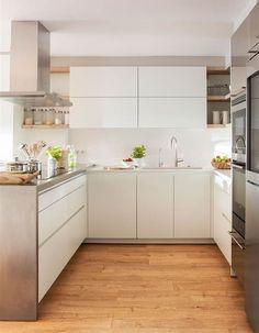 "Cocina blanca moderna en ""U"""
