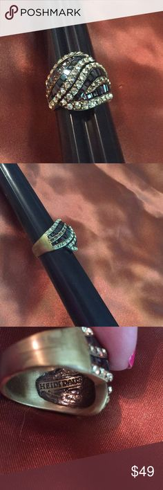 """HEIDI DAUS DECO STATEMENT RING BRONZE BLACK LIKE NEW BY HEIDI DAUS IN BRONZE-TONE SETTING """"CIGAR"""" BAND STYLE RING WITH BLACK, BRONZE AND JONQUIL COLORED CRYSTALS,  SIZE 10  - RUNS SMALL - SEE PHOTOS!!! NO BAG OR BOX AVAILABLE  NO SIGNS OF WEAR Heidi Daus Jewelry Rings"""