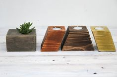 Wooden candle holders and planter gift set by WoodenShapes on Etsy, €38.00