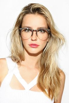 'Skylar' Unisex Semi Rimless Round Clear Glasses - Gloss Tortoise - 5561-3