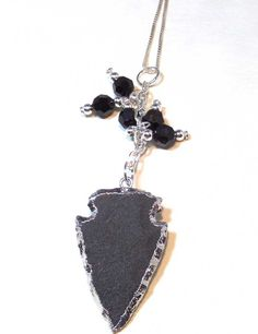 Arrowhead Necklace Sterling Silver Necklace  Black by lindab142