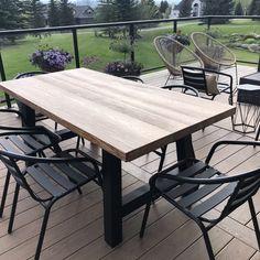 Metal Patio Chairs, Wood Patio, Outdoor Dining Chairs, Patio Dining Sets, Garden Chairs, Budget Patio, Patio Diy, Patio Ideas, Outdoor Wood Table