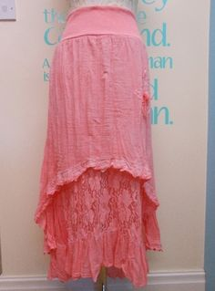CORAL PLUS SIZE LAGENLOOK CRINKLED COTTON & LACE GYPSY SKIRT FITS UK SIZE 16-22 | eBay